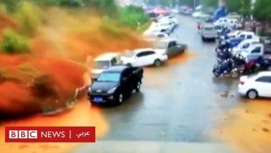 Photo of لحظة وقوع انهيار أرضي في الصين وابتلاعه عشرات السيارات
