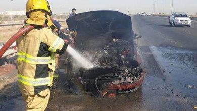 Photo of السيطرة على حريق مركبة على طريق المطار
