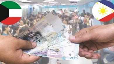 Photo of وصلت تحويلات العمالة الفلبينية في الكويت إلى 336.5 مليون دولار (102.4 مليون دينار) في الخمسة اشهر الماضية من العام الحالي