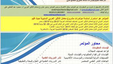 Photo of المؤتمر الدولي الخامس لمعامل التأثير العربي: التصنيف الدولي للمجلات العربية