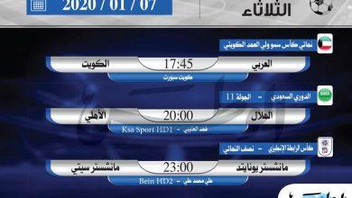 Photo of أبرز المباريات المحلية والعالمية ليوم الثلاثاء ييناير
