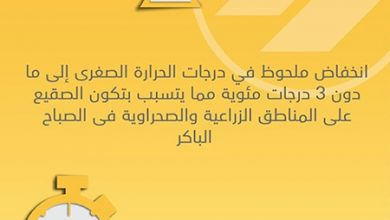 Photo of الأرصاد تحذر صقيع والحرارة الصغرى   جريدة الأنباء
