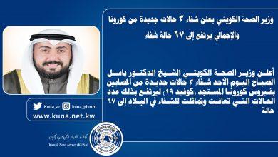 Photo of وزير الصحة الكويتي: شفاء 3 حالات جديدة من كورونا والإجمالي يرتفع إلى 67