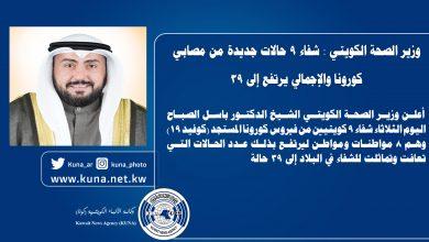 Photo of وزير الصحة الكويتي: شفاء 9 حالات ليرتفع الإجمالي إلى 39 حالة مقابل تسجيل حالتي إصابة جديدتين ليصبح إجمالي الإصابات 191 حالة