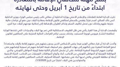 Photo of وزير الداخلية الكويتي يصدر قرارا بمنح مهلة لمخالفي الإقامة لمغادرة البلاد ابتداء من أول أبريل حتى نهايته