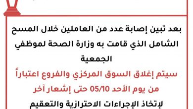 Photo of للمرة الثانية تعاونية العديلية تعلن إغلاق السوق المركزي والفرو..