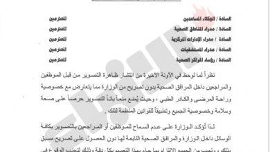 Photo of الصحة تمنع التصوير في مرافقها دون | جريدة الأنباء