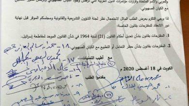 Photo of طلب نيابي لاستعجال نظر قوانين مقاطعة الكيان الصهيوني وحظر التطبيع