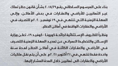 Photo of تمديد المهلة الزمنية لقانون حظر تملك غير العمانيين للأراضي والعقارات