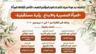 Photo of المؤتمر العلمي الثامن لثقافة المرأة … المرأة المصرية والإبداع: رؤية مستقبلية 6-8 ديسمبر