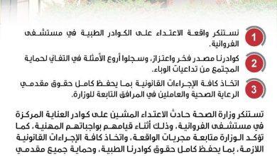 Photo of تصريح باسم وزارة الصحة … الثلاثاء 13 يوليو 2021